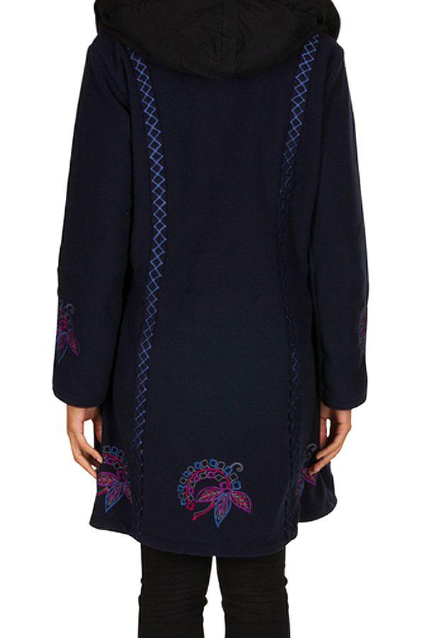 Manteau original long polaire à boutons et capuche Bleu marine Esperanza 300684