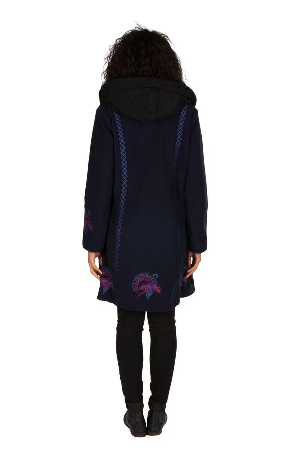 Manteau original long polaire à boutons et capuche Bleu marine Esperanza 300685