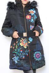 Manteau parka femme mi-long imprimé original Tidie 304218
