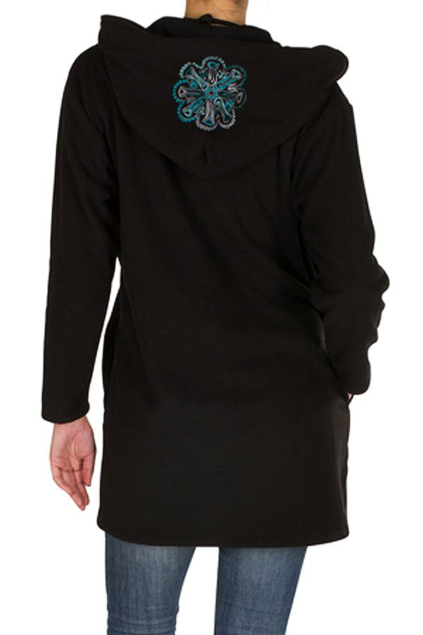 Manteau polaire avec une capuche et fermeture boutons Noir Lorinda 300324