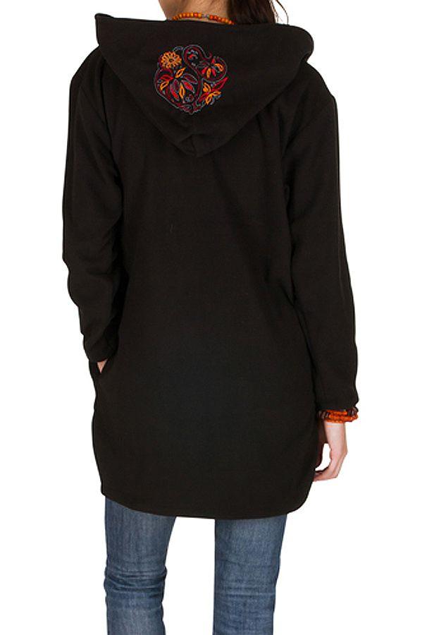 Manteau polaire avec une capuche et manches longues Noir Artentica 300332
