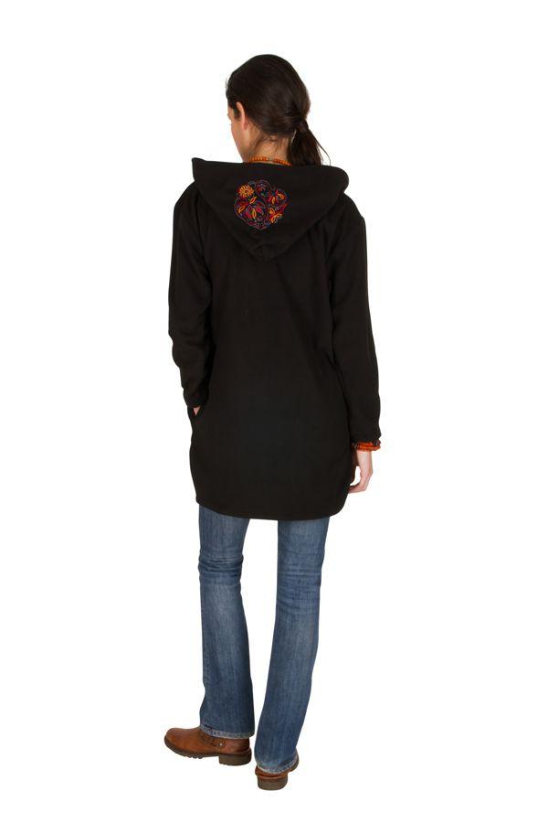 Manteau polaire avec une capuche et manches longues Noir Artentica 300333