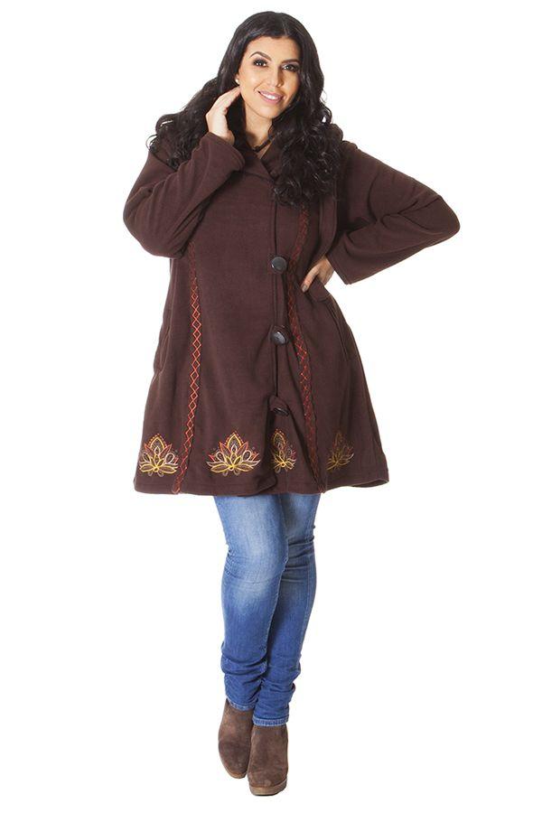 Manteau Polaire en Grande taille et Ethnique Tanner Chocolat 286987