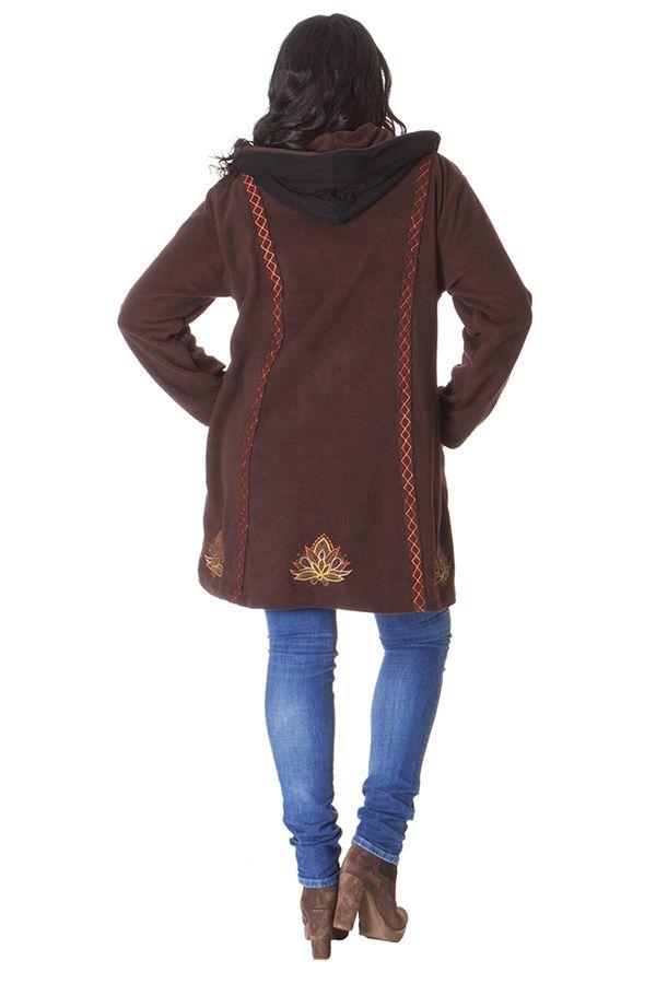 Manteau Polaire en Grande taille et Ethnique Tanner Chocolat 286988