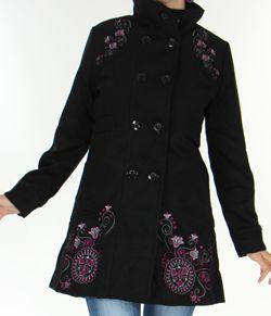 découvrir les dernières tendances vif et grand en style célèbre marque de designer Manteau pour Femme brodé Coloré et Original Antarc Noir