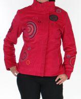 Manteau pour femme court Ethnique et Original Samael Fushia 305731