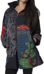 Manteau pour femme double Polaire Ethnique et Coloré Attrato Noir 276255