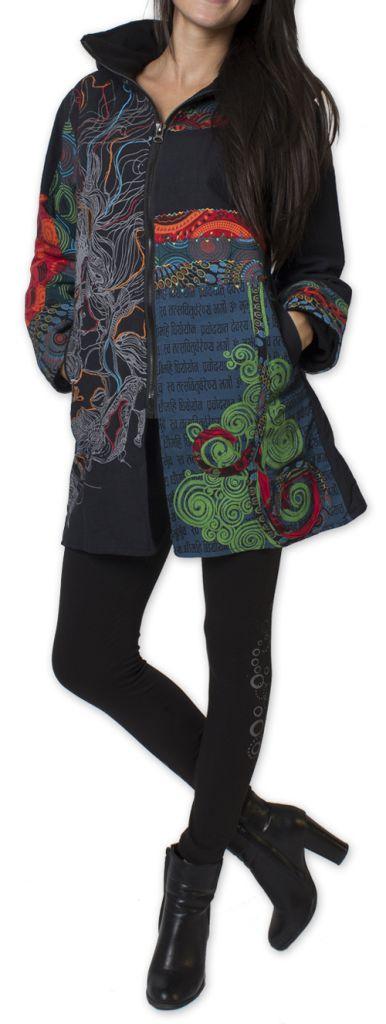 Manteau pour femme double Polaire Ethnique et Coloré Attrato Noir 276256