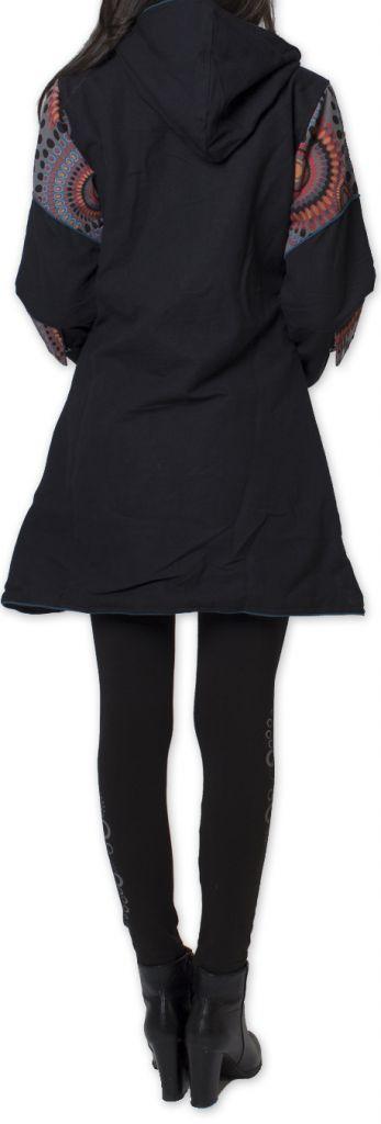 Manteau pour femme double Polaire Ethnique et Coloré Attrato Noir 276258