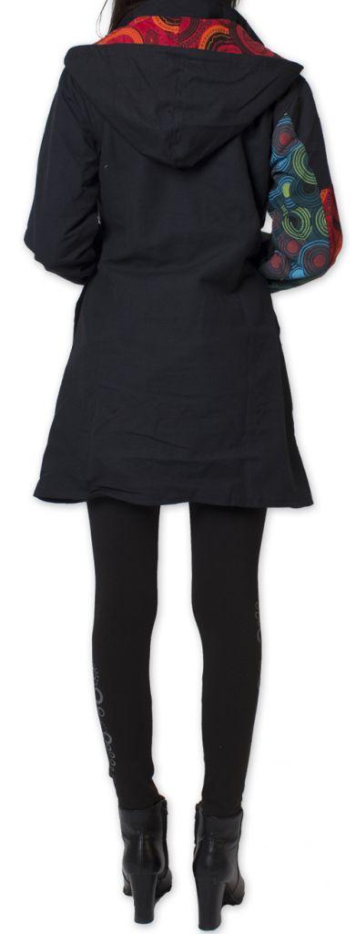 Manteau pour femme double Polaire Ethnique et Original Gambi Noir 276266