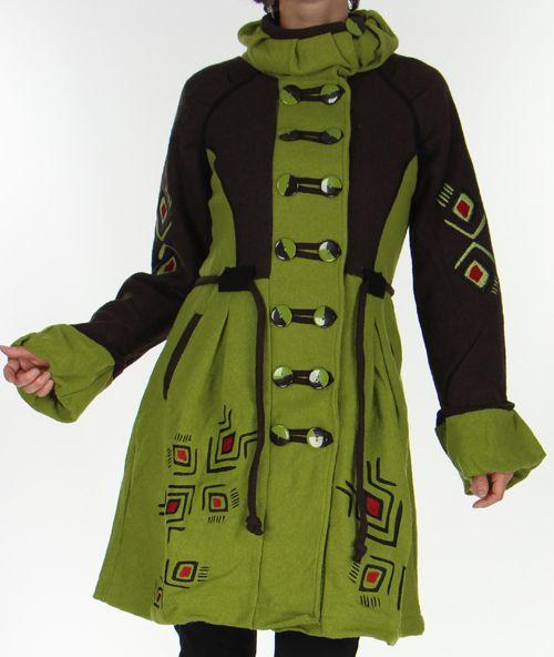 Manteau Pour Femme En Laine Ethnique Et Colore Theo Anis