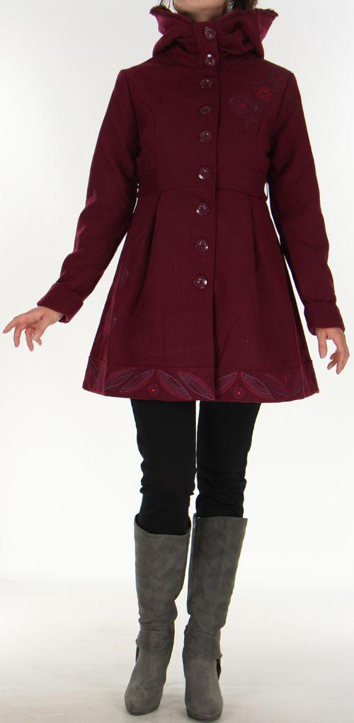 Manteau pour Femme Ethnique et très Chic Apollon Prune 278001