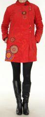 Manteau pour femme mi-long Coloré et Ethnique Seylan Rouge 276113