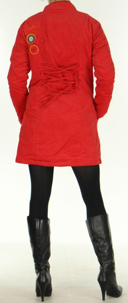 Manteau pour femme mi-long Coloré et Ethnique Seylan Rouge 276114