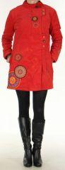 Manteau pour femme mi-long Coloré et Ethnique Seylan Rouge 305729