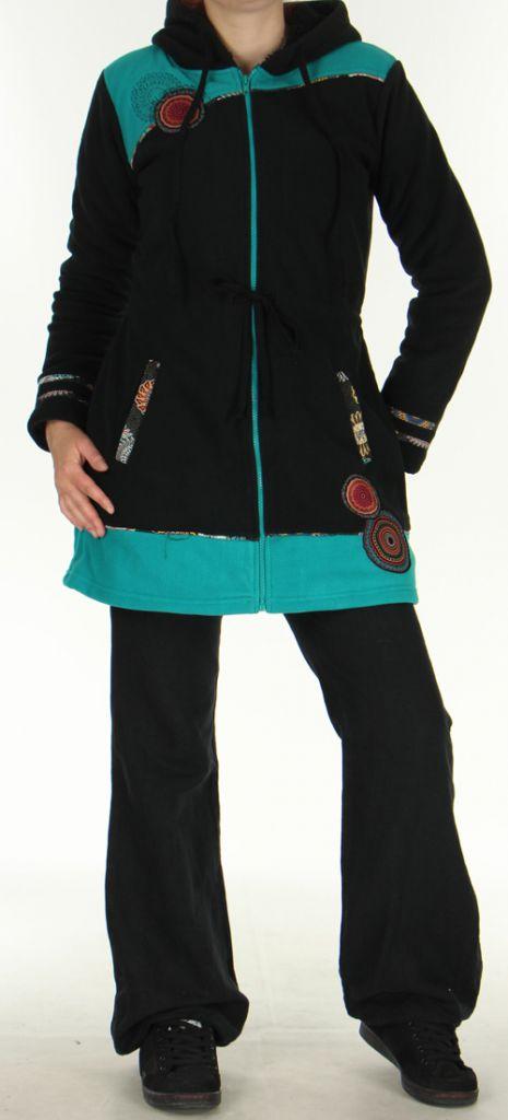 Manteau pour femme Polaire Ethnique et Original Shahyn Noir 276192
