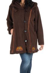 Manteau size plus à capuche et fermeture boutons en 100% polaire Chocolat Edna 300915