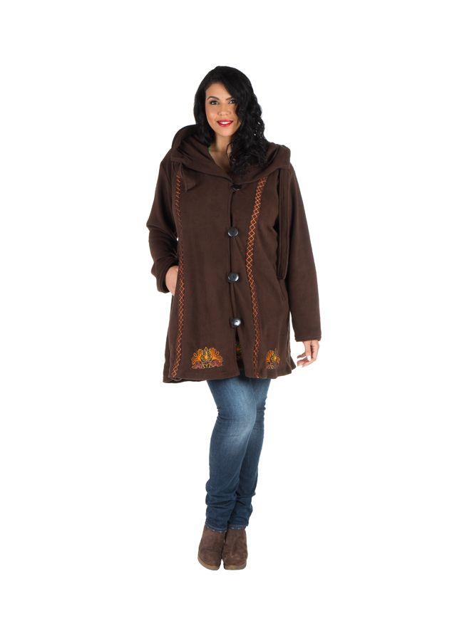 Manteau size plus à capuche et fermeture boutons en 100% polaire Chocolat Edna 300916