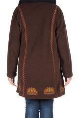 Manteau size plus à capuche et fermeture boutons en 100% polaire Chocolat Edna 300917