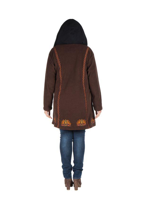 Manteau size plus à capuche et fermeture boutons en 100% polaire Chocolat Edna 300918