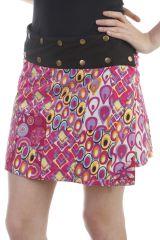 Mini-jupe réversible colorés avec imprimés 70s fuchsia Foster 296870