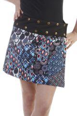 Mini-jupe réversible en coton vintage avec imprimés noire Foster 296726