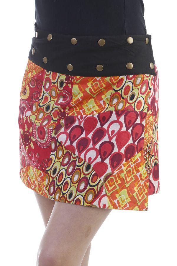 a9b34980aa08c1 Mini-jupe réversible vintage avec ceinture ajustable orange Foster