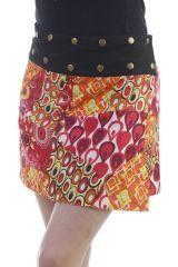 Mini-jupe réversible vintage avec ceinture ajustable orange Foster 296732