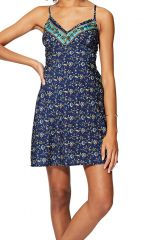 Mini robe imprimé fleurs pour femme d\'été chic à bretelles Diana