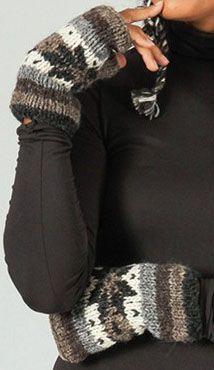 Mitaines en laine ethniques et chaudes Marron Aglaé 273194
