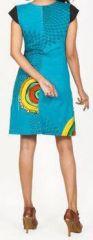 Originale robe d'été à manches courtes et colorée Bleue Rina 272178