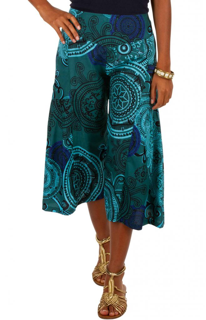 Pantacourt ample imprimé bleu turquoise pour femme Carmen