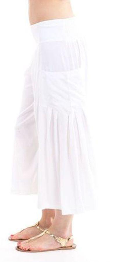 Pantacourt Blanc pour femme Fluide et Agréable Horace 282942