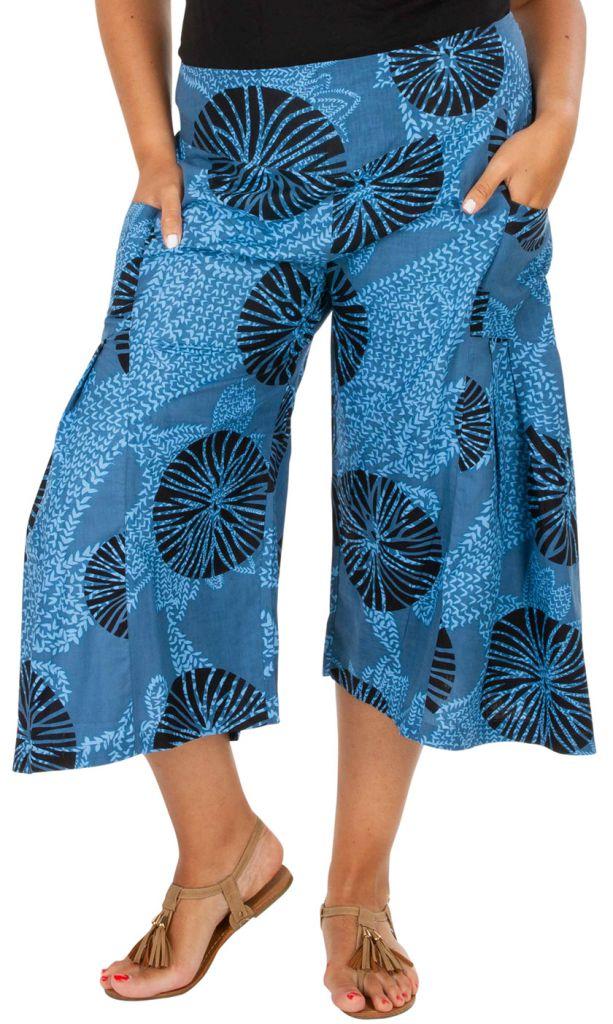 Pantacourt bleu ethnique et imprimé grande taille Ken 309756
