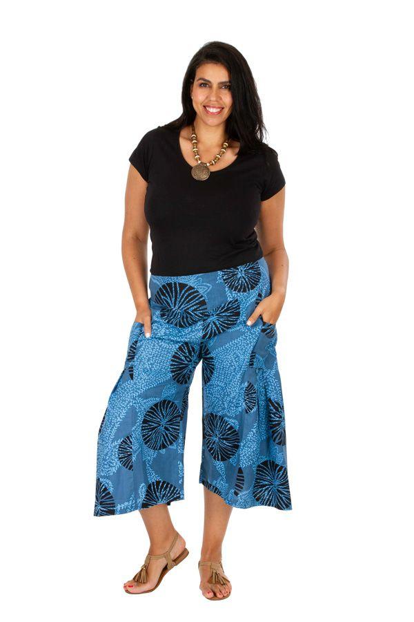 Pantacourt bleu ethnique et imprimé grande taille Ken 309757