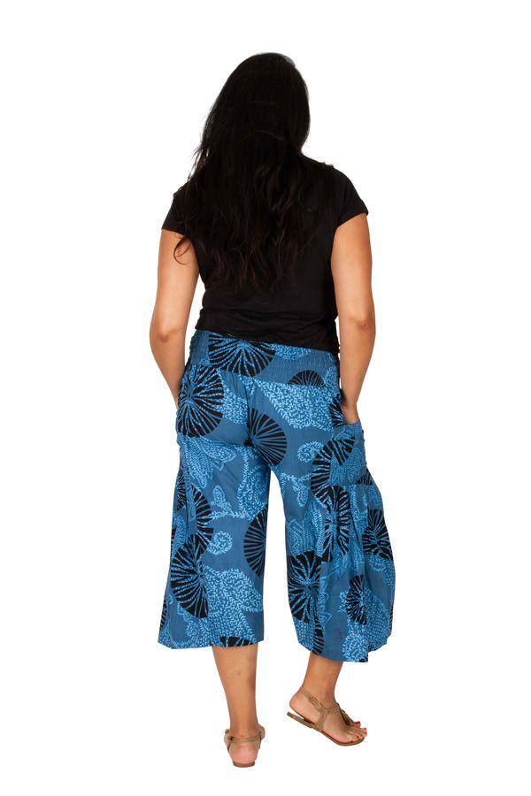 Pantacourt bleu ethnique et imprimé grande taille Ken 309758