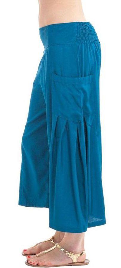 Pantacourt Bleu Pétrole pour femme Coloré et Fluide Horace 282936