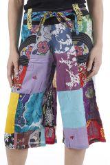 Pantacourt d'été ample et coloré type patchwork Simao 310551