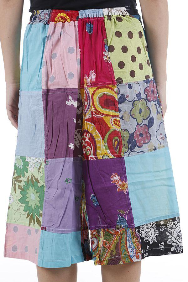 Pantacourt d'été ample et coloré type patchwork Simao 310552