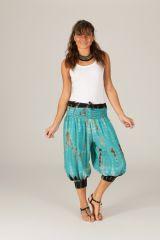 Pantacourt d'été femme bohème type sarouel Mowgli turquoise 315273