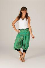 Pantacourt d'été pour femme large et bohème Mowgli vert 315269