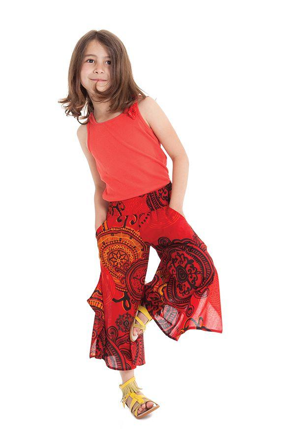 Pantacourt large Original et Coloré pour Fille Baloo Rouge 279879