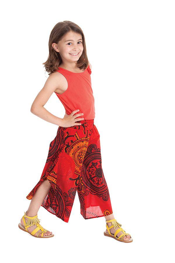 Pantacourt large Original et Coloré pour Fille Baloo Rouge 279888