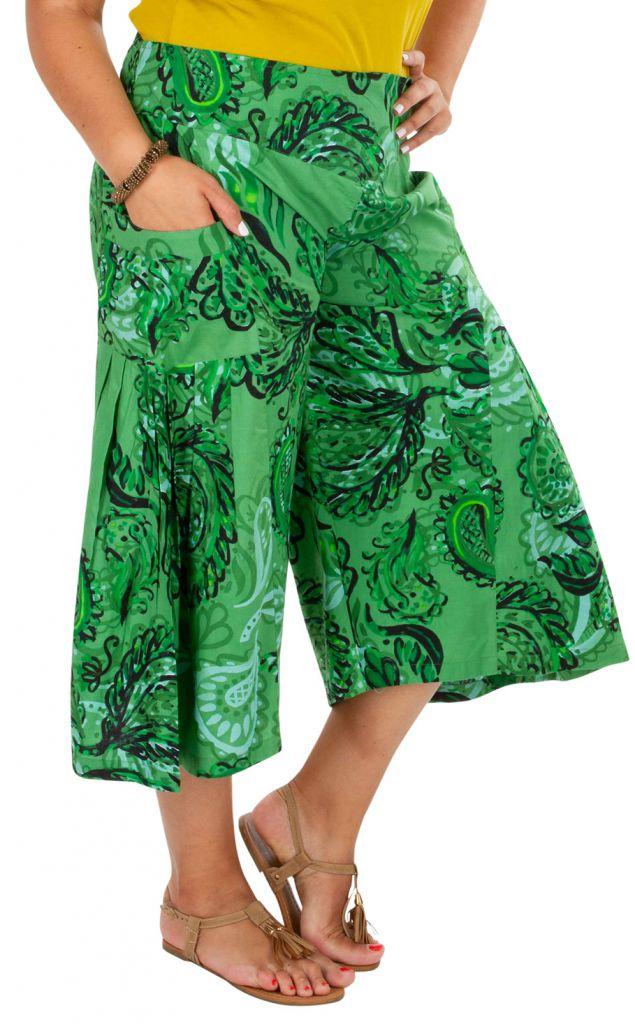 Pantacourt très ample vert en grande taille Paloma 309753