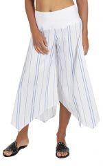 Pantalon 3/4 rayé blanc pour femme coupe ample et large Biny 317018