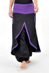 Pantalon aladin avec surjupe à poche noir et violet uni Dreampurple 304454