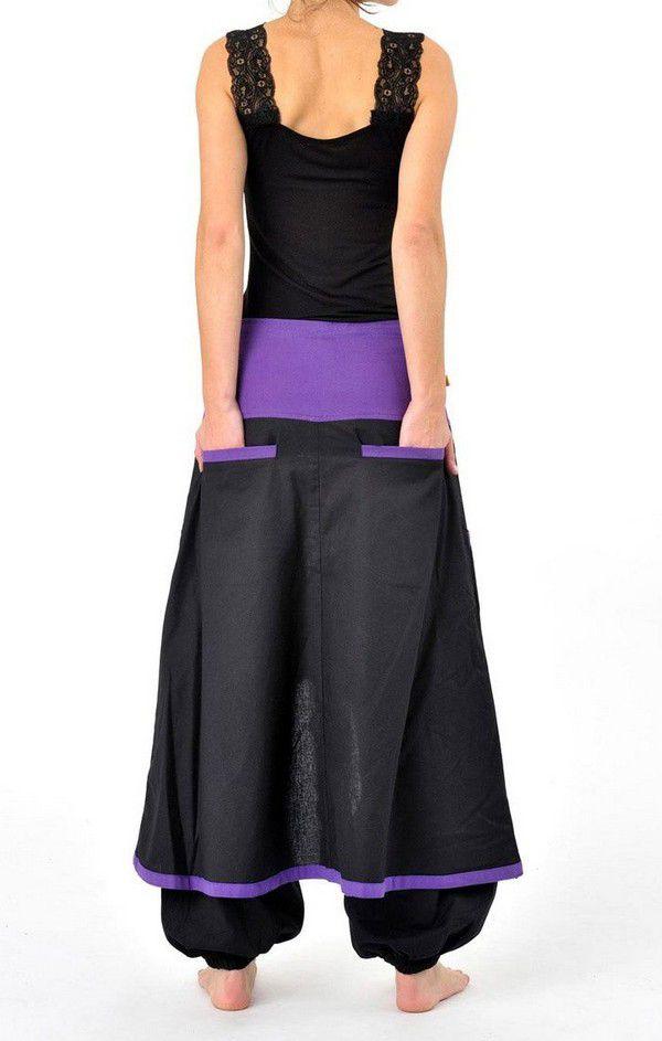 pantalon aladin avec surjupe poche noir et violet uni dreampurple. Black Bedroom Furniture Sets. Home Design Ideas