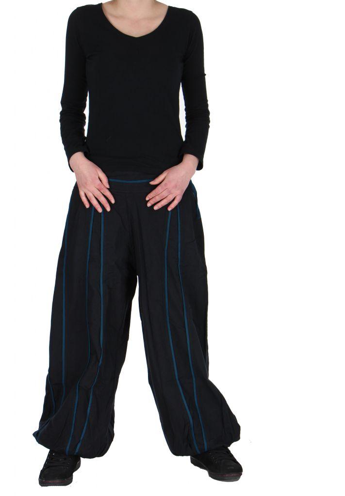Pantalon aladin mixte noir et bleu Gary 267307