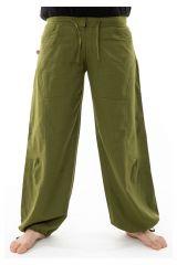 Pantalon ample en coton épais vert kaki pour homme Syni 305558