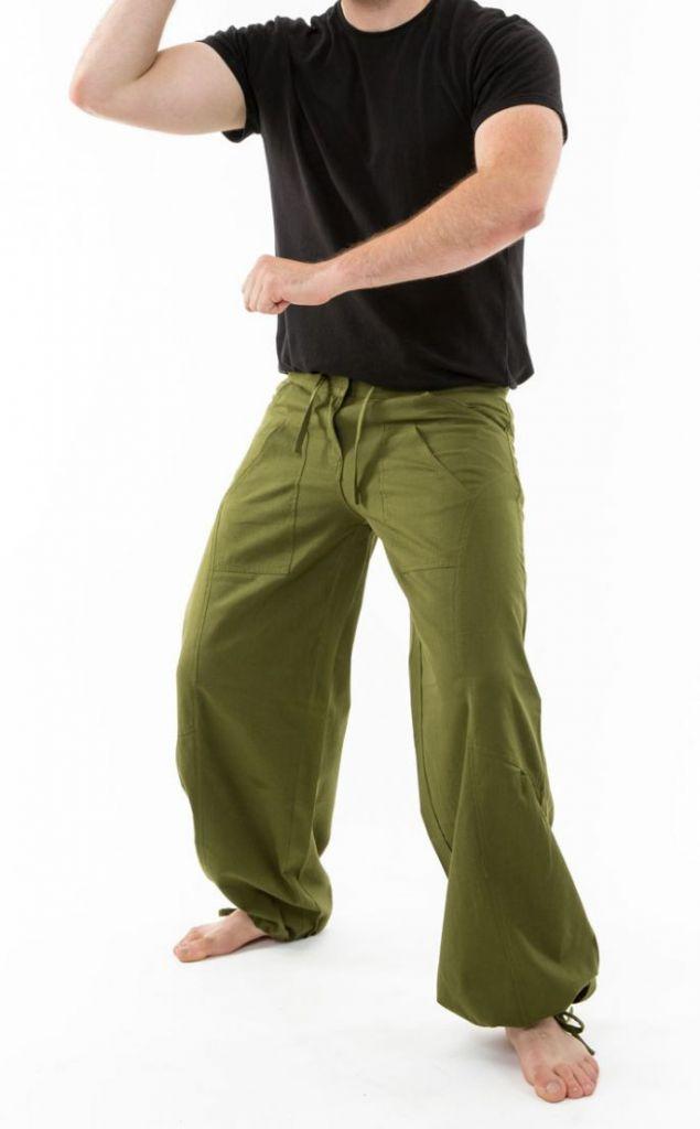 Pantalon ample en coton épais vert kaki pour homme Syni 305559